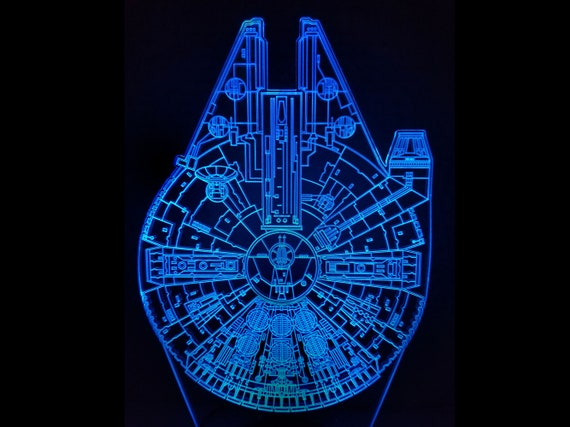 Star Wars Millennium Falcon edge lit acrylic Illusion LED lamp with multi-color light and remote control - wire frame engraving