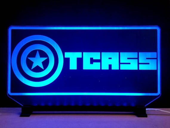 LytSign™ CUSTOM Personalized Multi-Color Laser Engraved Acrylic Edge-Lit LED Sign with light base, remote and USB power