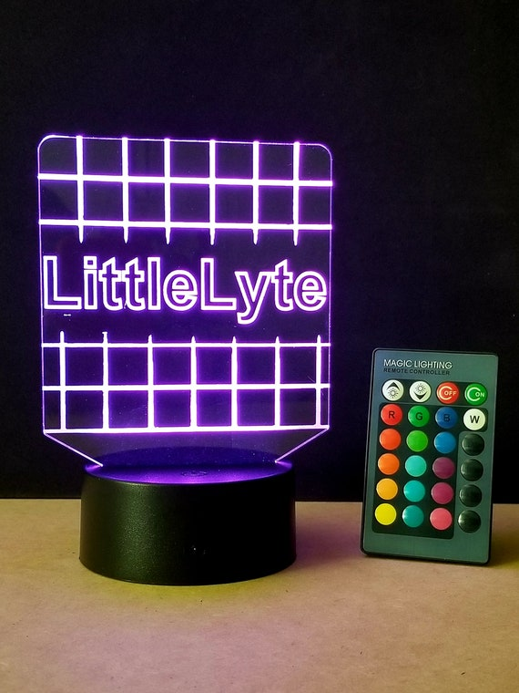 Personalized Multi-Color Laser Engraved Edge lit LED Acrylic desk, table, counter lamp sign with light base and remote control by LytSign™
