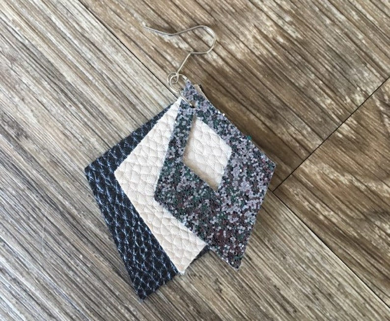 Faux Leather Diamond Shaped Earrings