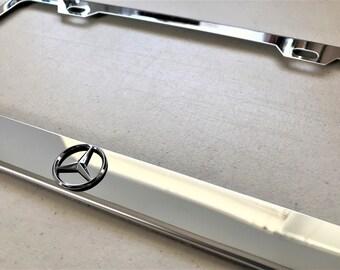 AMG 3D Emblem Mercedes Red On Black Stainless Steel License Plate Frame