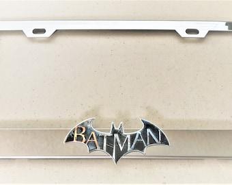 2X 3D Superman Logo Red Superhero Black Stainless Steel License Plate Frame