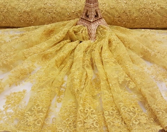 Fabric Yellow Design Beaded Mesh Lace Bridal Wedding Sold By Yard clothing