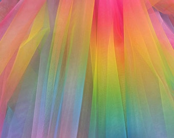 Fabric Sold by the Yard Rainbow Italian Tulle Decoration Clothing Draping Party Custom Dress Tutu Skirt Unicorn 2 Way Stretch Soft