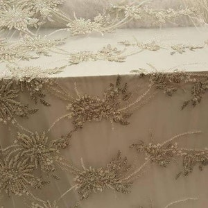 Off-White Elegant Embroidered Cluster Flower Leaf Mesh Elegant Lace Fabric Sold By The Yard Flower Plant Lace Iridescent Sequins Decor Fabric