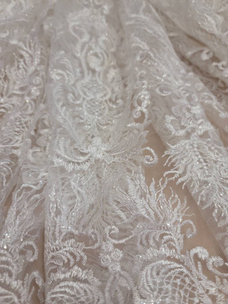 Fabric Sold By The Yard Off White Bridal Lace Embroidery Floral Vintage Clear Shine Sequin Double Scallops Wedding Gown Bridal Evening Dress