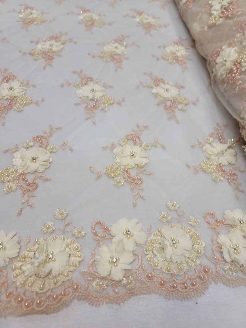 Ivory Beaded Lace 3d Chiffon Floral Flowers Blush Embroidered Pearls Rinesthone on Mesh Prom Fabric Sold by the Yard Bridal Evening Dress