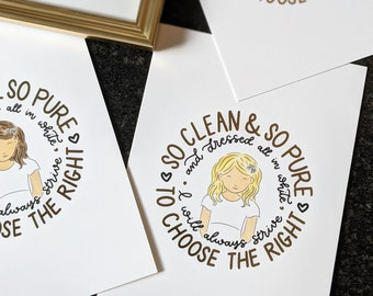 """Gold Foil """"Clean & Pure"""" Baptism Print   5x7 Size   LDS Baptism or Primary Gift   Girl Baptism Print"""