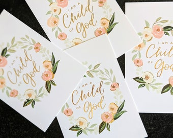 """Gold Foil """"Child of God"""" Print   5x7 Size   LDS Baptism or Primary Gift   Floral Wreath Calligraphy Print"""