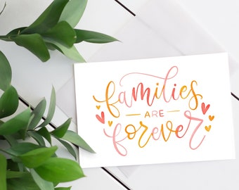"""Watercolor Calligraphy """"Families are Forever"""" Digital Print   Watercolor Christian Art   Inspirational Phrase"""