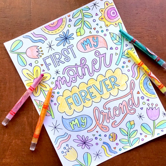 Mother's Day Coloring Pages  Hand-Lettered Design