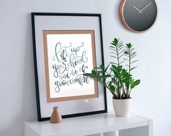 "Watercolor Calligraphy ""Lift Up Your Head"" Digital Print   Watercolor Art   Inspirational Phrase   Christian Art"