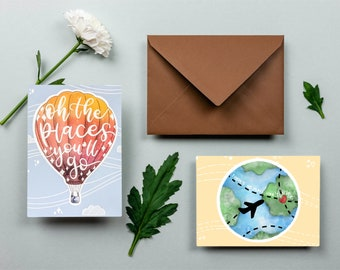 Printable Travel-themed Stationery   DIY Travel Gift   Hot Air Balloon, Luggage, Lightouse, & Globe Cards   A2 Stationery