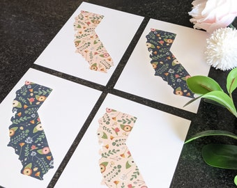 """Floral """"BloomIn' CA"""" Print   5x7 Size   Floral Spring Decor   California State Outline"""