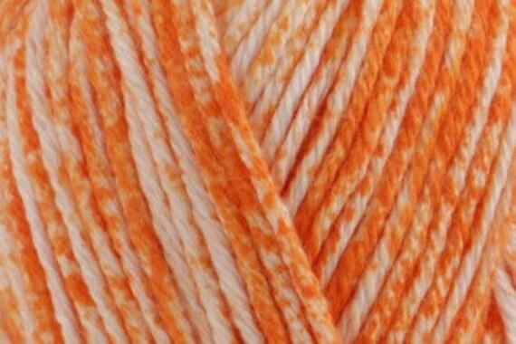 Long Colour Change Orange-White Mix King Cole DK Soft Sport Cute Vegan Yarn Orange Peel 2115