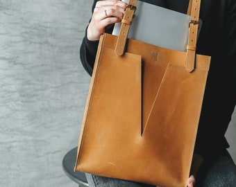 Cute Laptop Bag, Leather Tote Purse for Woman, Soft Leather Bag