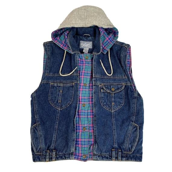 Vintage Denim Plaid Vest Flannel Lined Jean Vest … - image 1