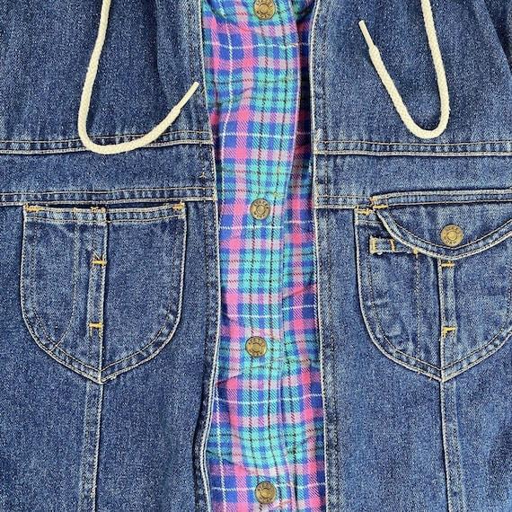 Vintage Denim Plaid Vest Flannel Lined Jean Vest … - image 4