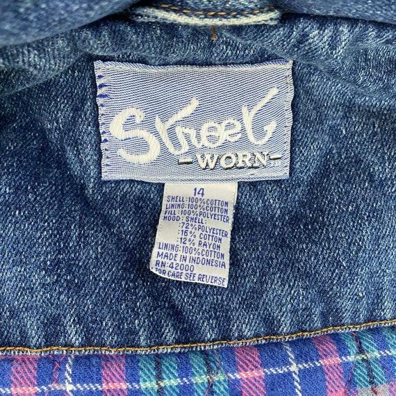 Vintage Denim Plaid Vest Flannel Lined Jean Vest … - image 5
