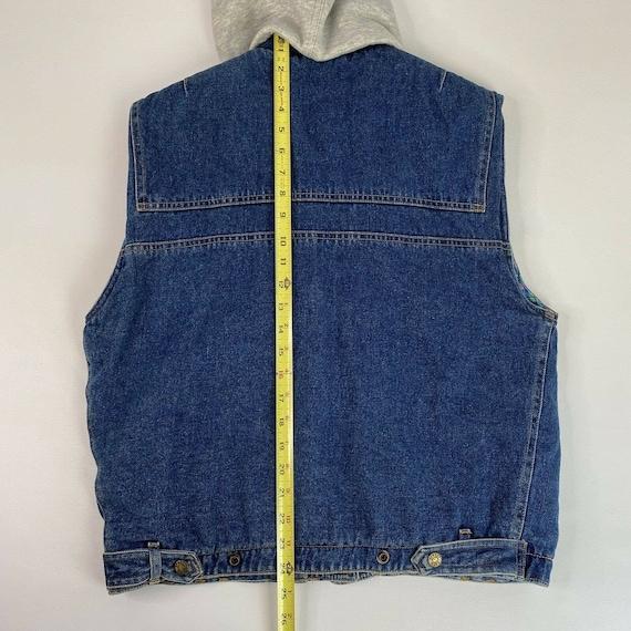 Vintage Denim Plaid Vest Flannel Lined Jean Vest … - image 8