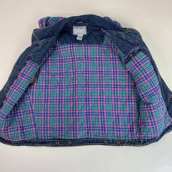 Vintage Denim Plaid Vest Flannel Lined Jean Vest … - image 3