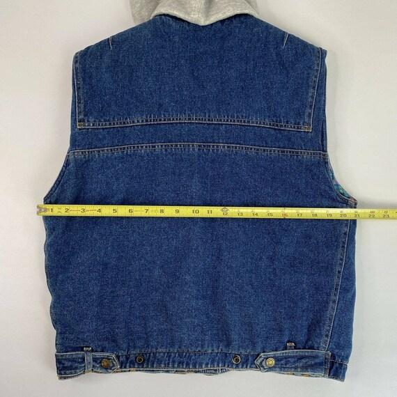Vintage Denim Plaid Vest Flannel Lined Jean Vest … - image 7