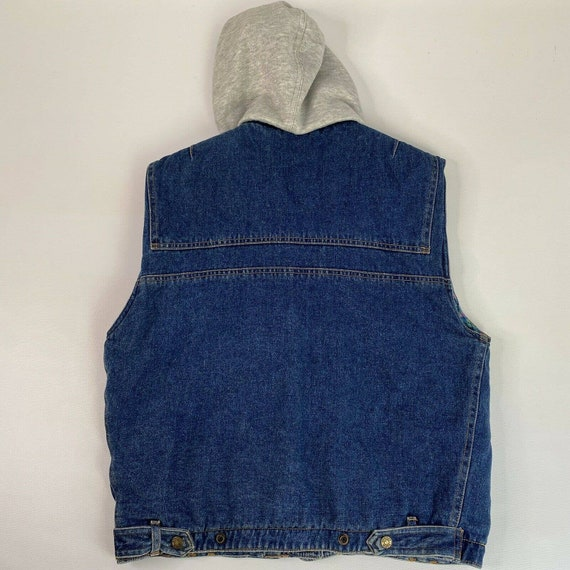 Vintage Denim Plaid Vest Flannel Lined Jean Vest … - image 2