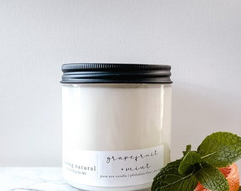 Grapefruit + Mint   Fresh Scents   Hand Poured Soy Candle   Natural Candle