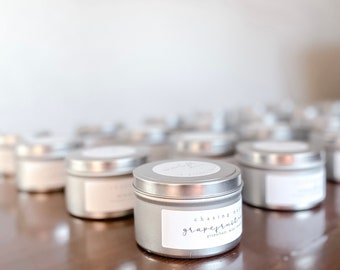 Custom Candle Tin   Custom Message   Chasing Natural   Hand Poured in Michigan  