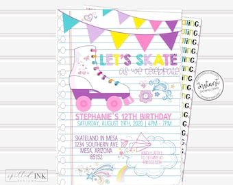 graphic regarding Roller Skate Template Printable known as Skating get together invite Etsy