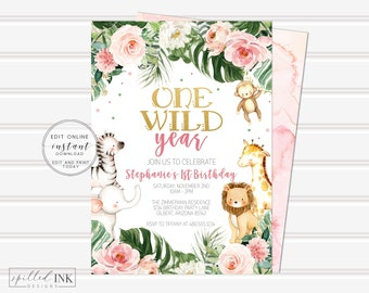Wild One Birthday Party Invitation • INSTANT DOWNLOAD • Greenery Pink and Gold Birthday Invite • Printable Editable Template, One Wild Year