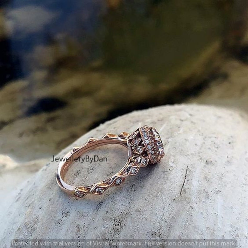 Royal Wedding Ring For Her Vintage Engagement Ring in 14k Rose Gold with 2 Ct Round Cut Moissanite Diamond