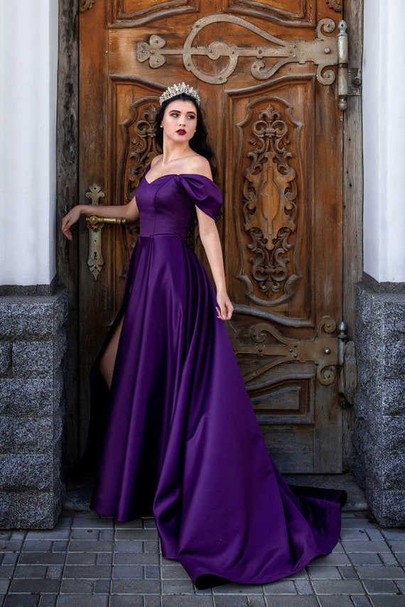Evening & Prom Dress Fairytale Dark Violet Royal Satin Corset Bridesmaid Floor Length Custom Made Formal Flowy Gown