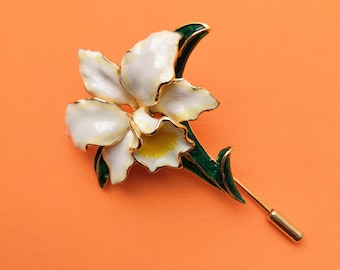 2 x White Cattleya Orchid Flower Hair Grips Clips Hawaiian Bobby Pins Boho 1766