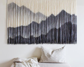 Large Tapestry Decor, Dyed Mountain Art, HandMade Wall Hanging, Bohemian Wall Art, Macrame Headboard, Woven Wall Deocr, Modern Home Decor
