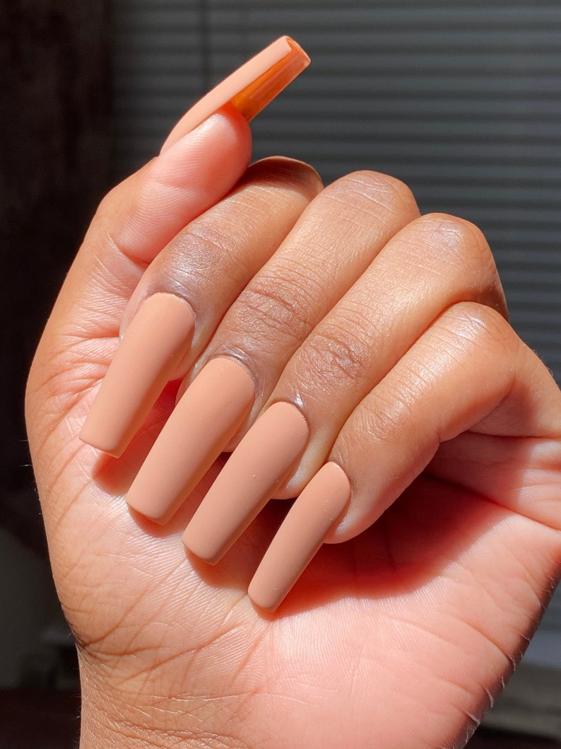 Chestnut  Nude Press On Nails  Press-On Nails  Handmade image 0