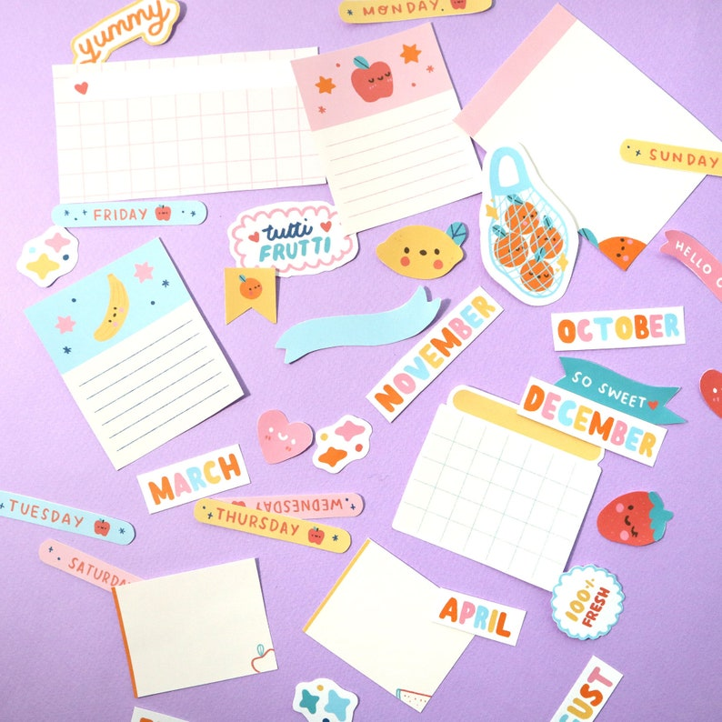 Juicy Fruit Bujo Stickers & Journal Kit  Kawaii Stickers  image 0