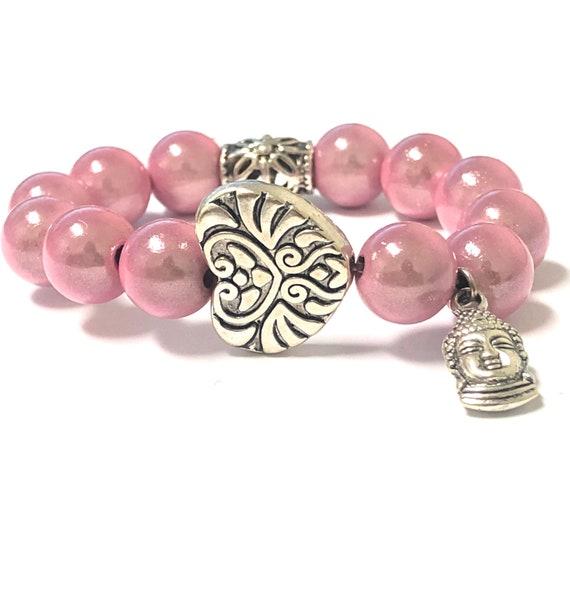 Buddha Bracelet. Women's Bracelet. Gift For Her. Yoga. Meditation. Heart