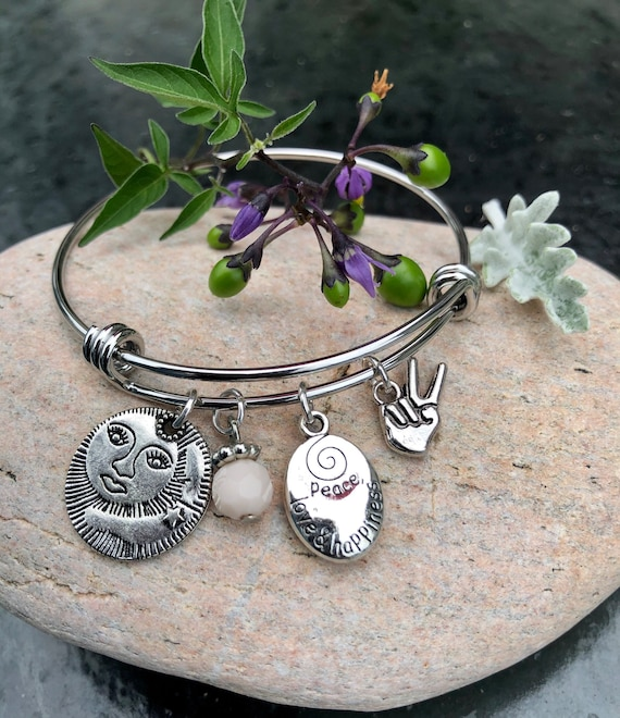 Celestial Peace Bangle Bracelet. Peace. Sun Goddess. Bohochic. Gift