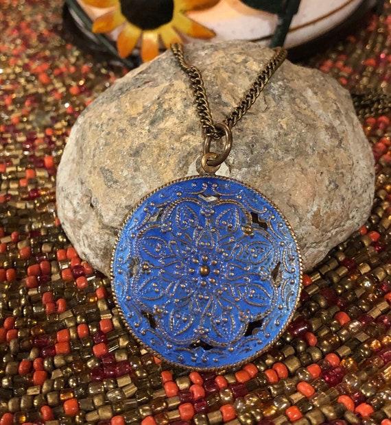 Blue Flower Medallion Necklace. Women's Jewelry. Boho Chic. Hippie.