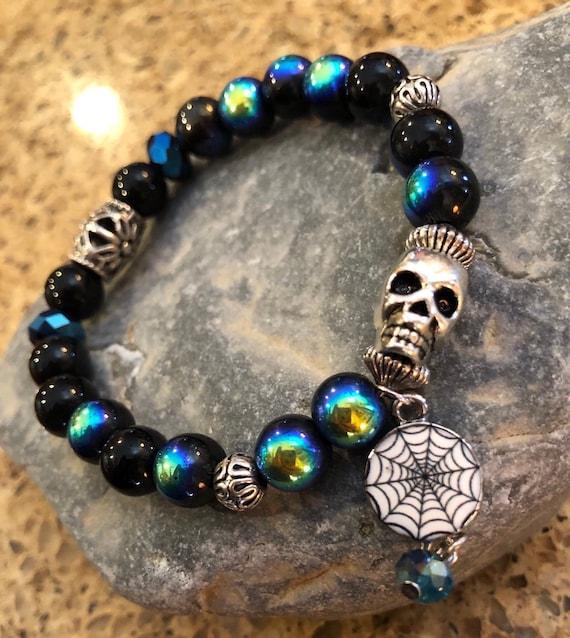 Skull Bracelet. Bracelet. Boho. Spiderweb jewelry. Halloween Jewlery