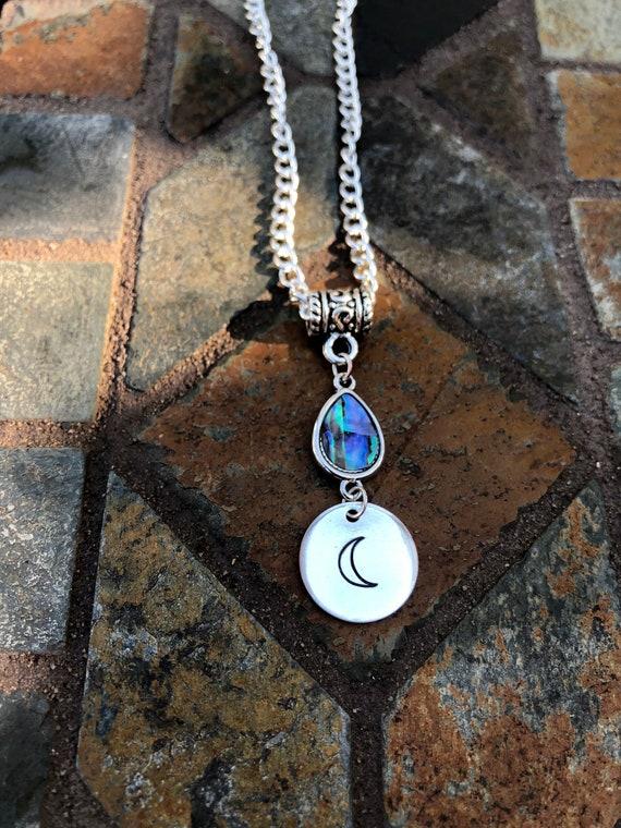 Hand Stamped Charm Moon Necklace. Women's Jewelry. Men's Jewelry. Boho Chic. Hippie. Crescent Moon. Luna
