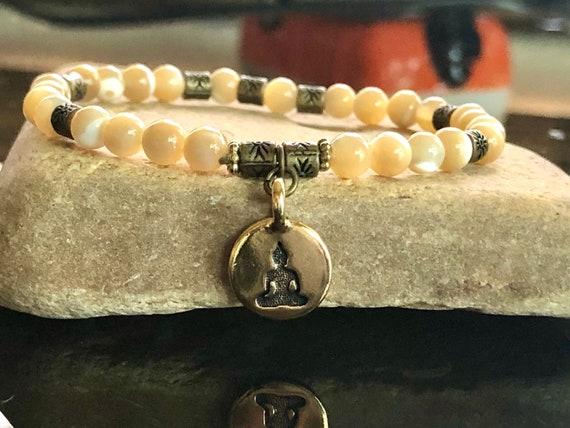 Buddha Charm Natural Shell Bracelet. Women's Bracelet. Gift For Her. Yoga. Meditation. Zen