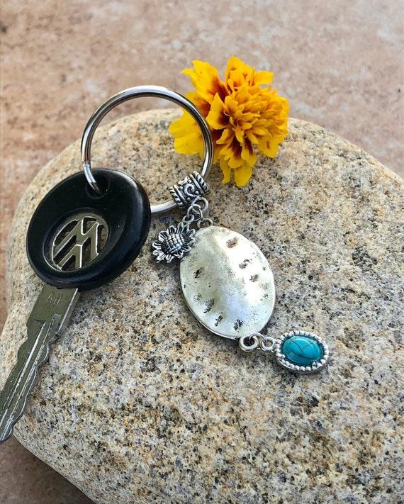Sunflower Keychain w/ Medallion & Blue Charm. Women's. Gift. Keychains. Boho