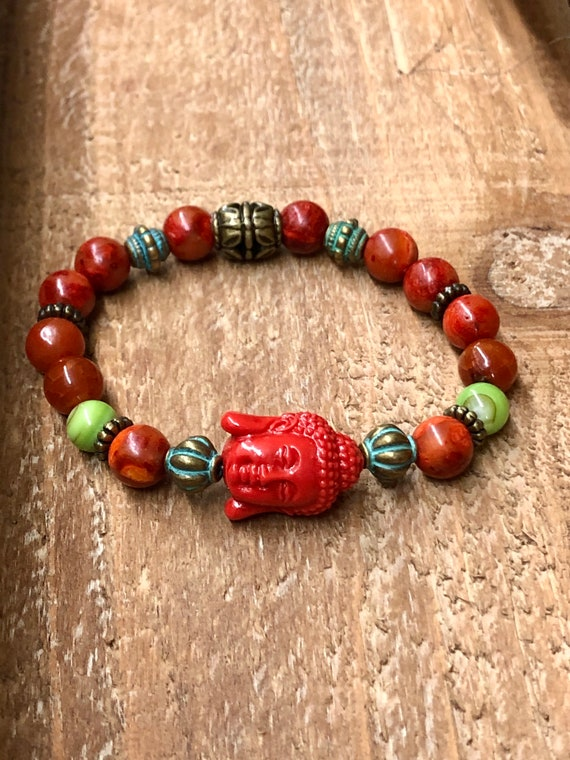 Buddha Bracelet Red. Women's Bracelet. Men's Bracelet. Gift. Jewelry. Yoga. Meditation