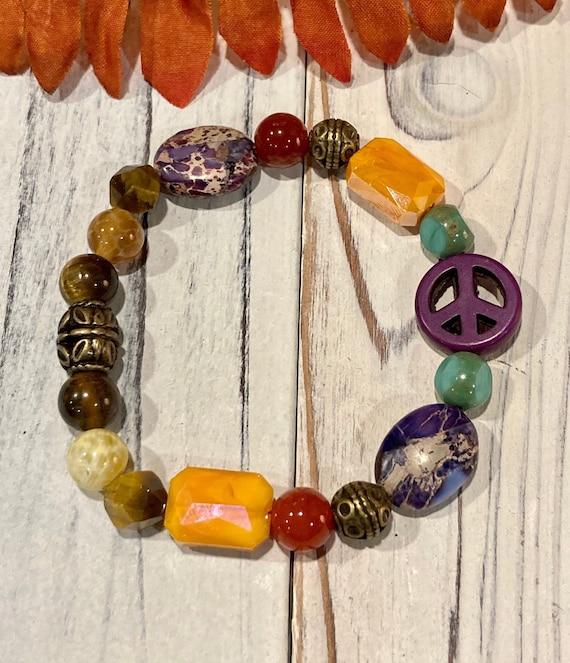 Peace Sign Bracelet. Womens Gift. Men's Gift. BOHO Bracelet. Boho Chic. Good Vibes