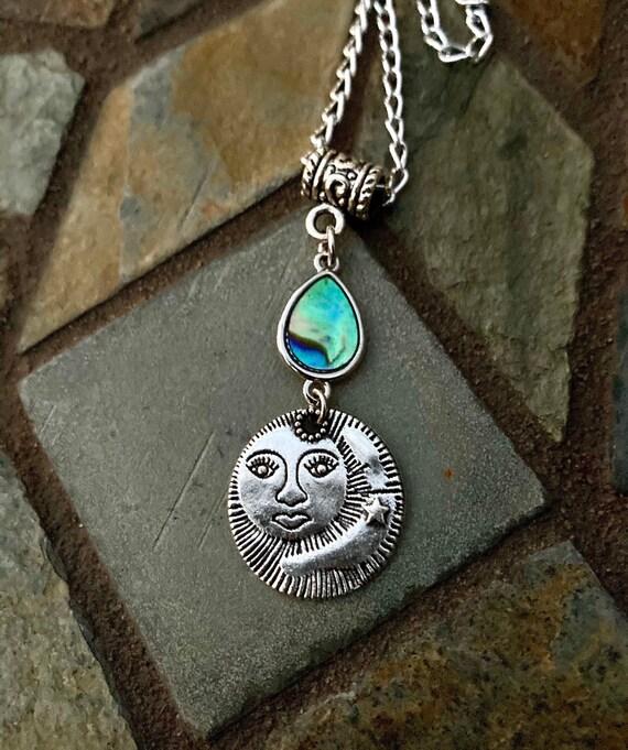 Sun & Moon Necklace. Women's Jewelry. Men's Jewelry. Boho Chic. Hippie. Crescent Moon. Luna
