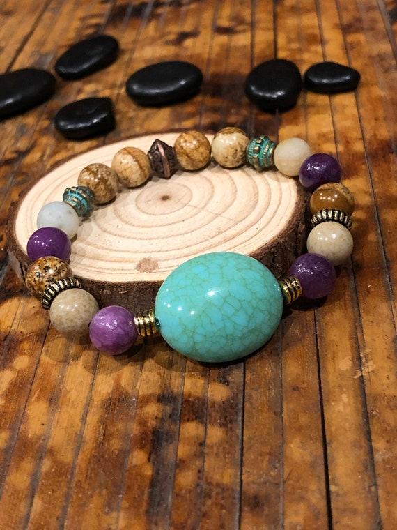 Blue Stone Bracelet. Women's Bracelet. Bohochic. Women's jewelry. Boho. Jewelry