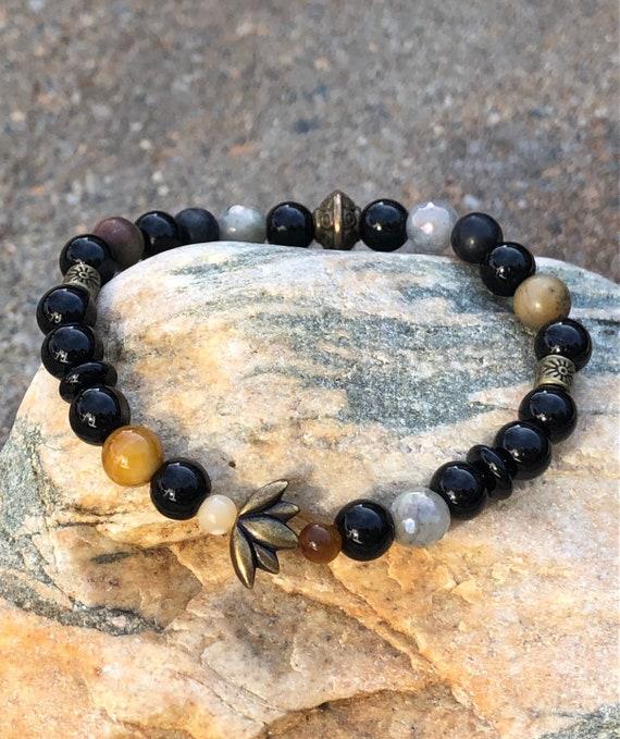Black Lotus Flower Bracelet. Bracelet. Boho. Spiritual jewelry. Yoga Jewlery
