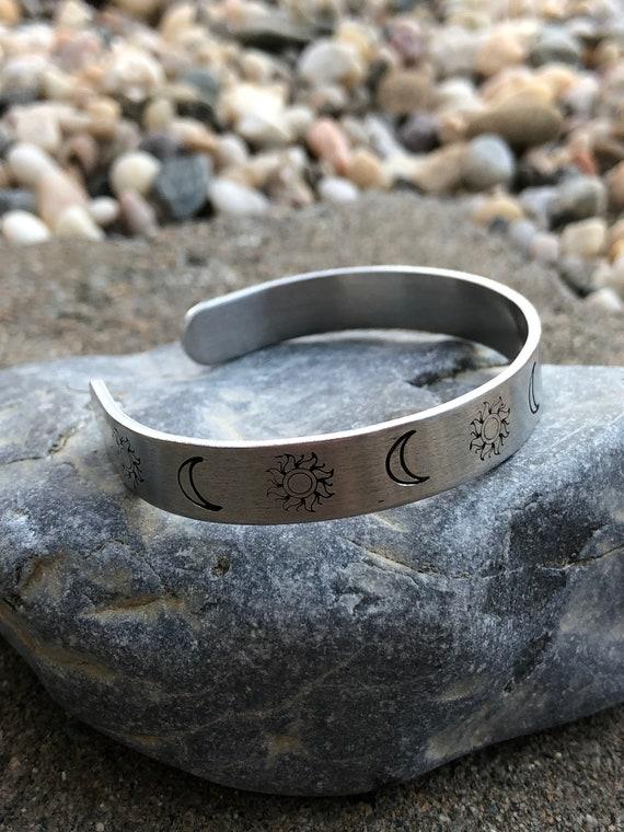 Sun Moon Hand Stamped Metal Cuff Bracelet. Women's Bracelet. Bohochic. Women's jewelry. Boho. Bohemian Jewelry. Celestial.